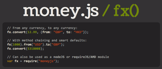 money.js - javascript currency conversion library