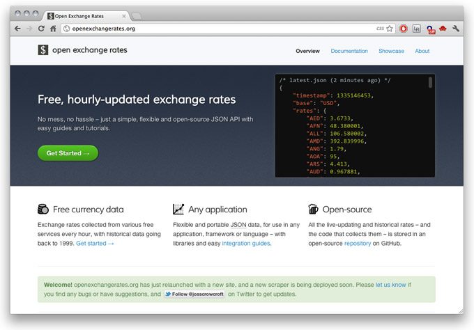Open Exchange Rates new homepage